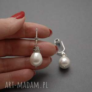 ręcznie robione klipsy perła z perłą seashell