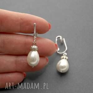 gustowne klipsy perełka z perłą seashell