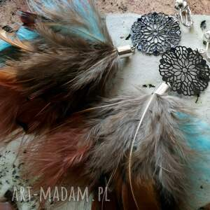 pióra klipsy z piórami i ażurową