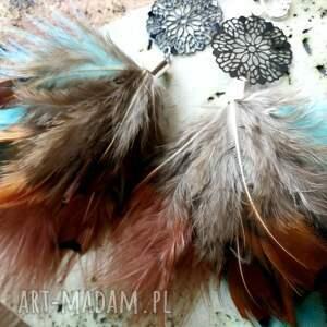 klipsy pióra z piórami i ażurową