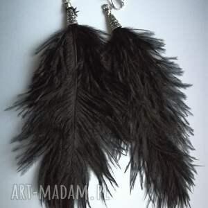 hand made klipsy pióra ze strusich piór długie