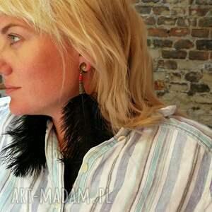 niesztampowe klipsy pióra ze strusich piór długie
