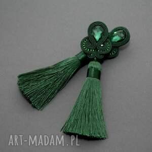 nietuzinkowe klipsy sznurek zielone sutasz