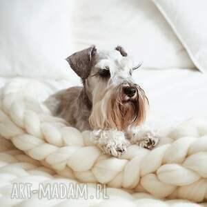 Wool and Dog koce i narzuty: Beżowy koc z wełny owczej XL - pled chunkyblanket