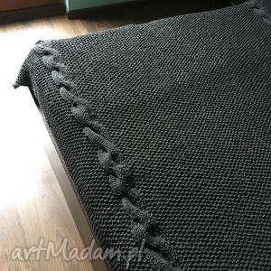 nietuzinkowe koce i narzuty wełna koc, gruby pled grafit 140x180 cm