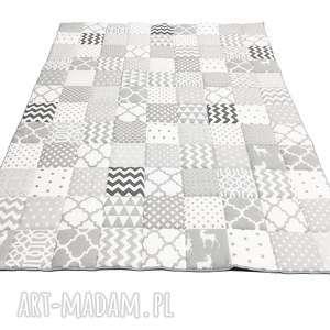 ręcznie robione koce i narzuty narzuta patchwork komplet art white and grey