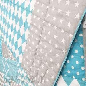 ręcznie wykonane koce i narzuty narzuta patchwork komplet art turquoise and