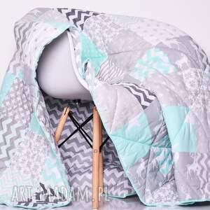 szare koce i narzuty patchwork komplet art narzuta grey and mint