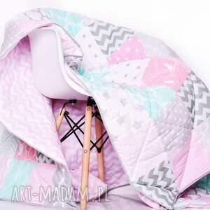 koce i narzuty: komplet art narzuta grey, pink and mint 155x210cm patchwork
