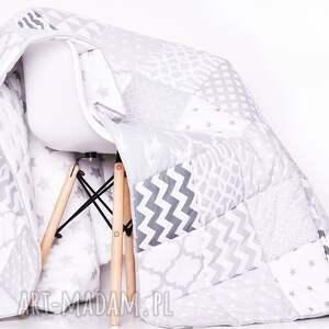 białe koce i narzuty komplet art narzuta white and grey