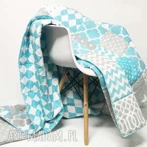 koce i narzuty: komplet art narzuta turquoise and grey 180x215cm od majunto - ręcznie patchwork