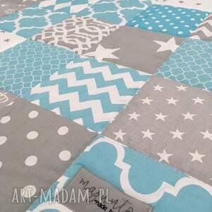 narzuta patchwork koce i narzuty turkusowe komplet art turquoise and