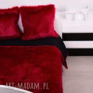 czerwone koce i narzuty narzuta włochacz komplet scarlet