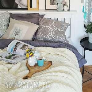 handmade koce i narzuty narzuta kremowy pled