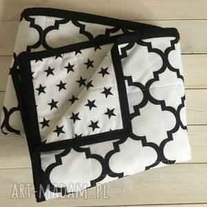 koce i narzuty marokańska narzuta biało czarna (gwiazdki