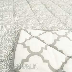 białe koce i narzuty narzuta fresh grey white 155x205cm
