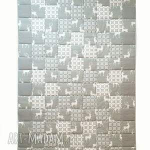 białe koce i narzuty narzuta majunto grey deer 115x195cm