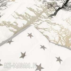 beżowe koce i narzuty narzuta w-drzewka mystical forest 155x205cm