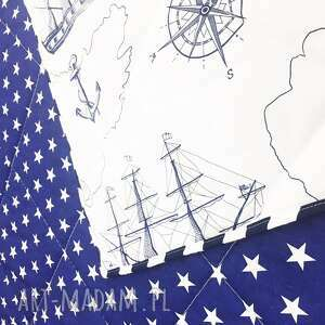 koce i narzuty marynarska narzuta sea map 155x205cm