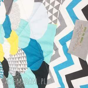 białe koce i narzuty kapa narzuta turquoise waves 155x205cm