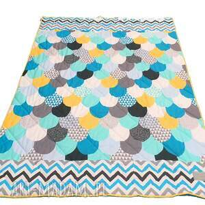 narzuta na łóżko koce i narzuty turkusowe turquoise waves 155x205cm