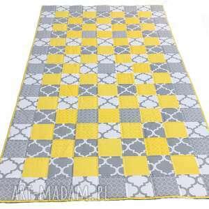 patchwork koce i narzuty żółte narzuta yellow and grey 117x217cm