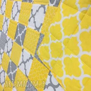 białe koce i narzuty narzuta patchwork yellow and grey 117x217cm