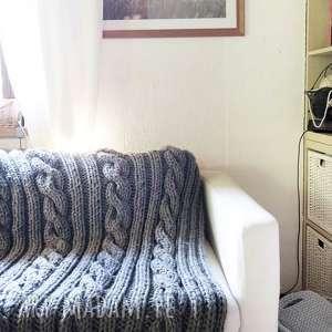 rękodzieło koce i narzuty wełniany pled w warkocze 160 x 200