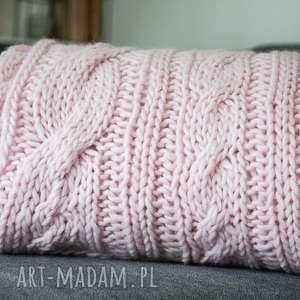 koce i narzuty: Wełniany różowy koc - pled narzuta