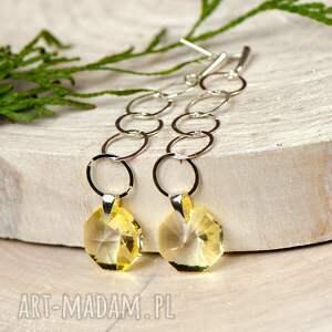 żółte kolczyki kolczyki-srebrne a594 długie srebrne