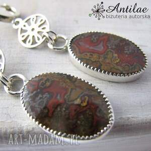 kolczyki agat marokański, srebrne