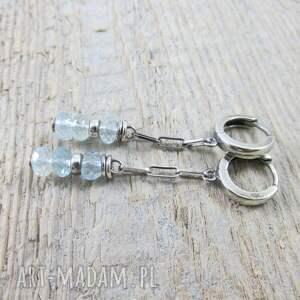 srebro kolczyki akwamaryn na łańcuszku