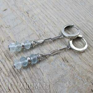 kolczyki srebro akwamaryn na łańcuszku