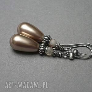 Katia i krokodyl Almond pearl - kolczyki - oksydowane perly