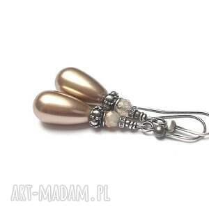 srebro almond pearl - kolczyki