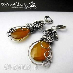 pomarańczowe kolczyki ambar - chalcedon, srebro