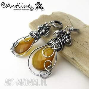 srebro kolczyki ambar - chalcedon,