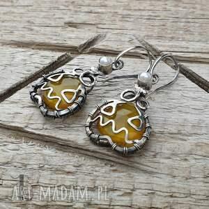 kolczyki-srebrne kolczyki pomarańczowe angry pumpkin srebrne
