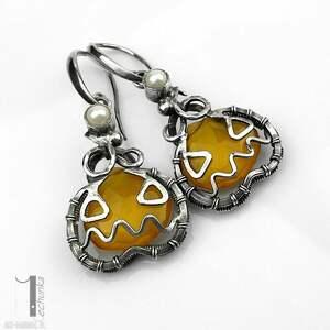 żółte kolczyki kolczyki-srebrne angry pumpkin srebrne