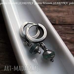 szkło kolczyki srebrne antyczne drobinki ze szkła