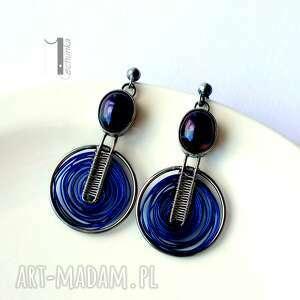 czarne kolczyki perły arachne - blue moon srebrne