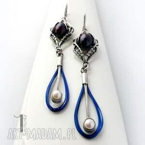 perły kolczyki niebieskie arachne fusum - srebrne
