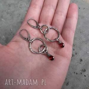 czerwone długie asymetryczne kolczyki - srebro