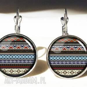 azteckie kolczyki kolorowe paski - pierścionek
