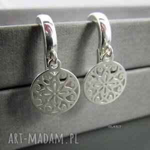 szare kolczyki srebro ażurowe blaszki -