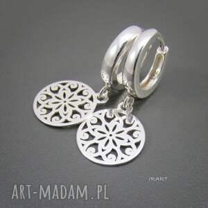 oryginalne kolczyki srebro ażurowe blaszki -