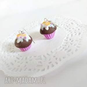brązowe kolczyki babeczki czekoladowe z