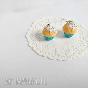 turkusowe kolczyki babeczki waniliowe z