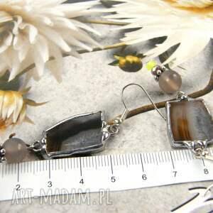 Kolczyki beżowe z agatem - długie z-kamieniem