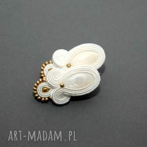 SiSu białe kolczyki sutasz z masą perłową sznurek